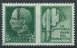 1944 RSI PROPAGANDA DI GUERRA 25 CENT MNH ** - ED829-6 - Propagande De Guerre