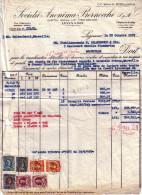 ITALIE -ENSEMBLE DE TIMBRE SUR FACTURE SOCIETA ANONIMA BERNOCCHI LEGNANO EN 1959. - Italie