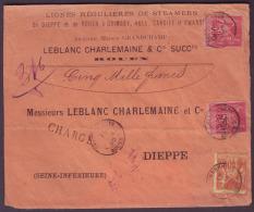 """SEINE INFERIEURE - DVT - Tàd T15 Chargements Rouen Sur 2 X N° 98 + N° 94 (1F40) + """"chargé"""" Pour Dieppe (74) - Postmark Collection (Covers)"""