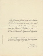 Baronne Doris Van Der Straten Waillet Comte Harold D'aspremont Lynden - Mariage