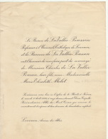 Baron Charles De La Vallée Poussin Marie Mélot - Mariage