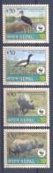 Mzn281s WWF FAUNA ZOOGDIEREN VOGELS NEUSHOORN OOIEVAAR STORK RHINO MAMMALS BIRDS VÖGEL AVES OISEAUX NEPAL 2000 PF/MNH - Ungebraucht