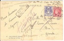 WW2-75 - CP De Villandraut Pour Bordeaux ? - Griffe 'Retour à L'envoyeur - Marcophilie (Lettres)
