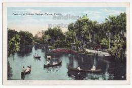 TAMPA FL, CANOEING AT SULPHUR SPRINGS PARK ~ ca1920s vintage Florida postcard ~ LAGOON
