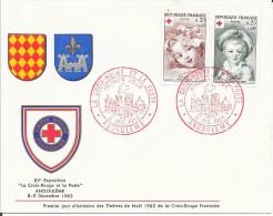 N° 1366 1367 FRANCE - CROIX ROUGE -1ER JOUR DEMISSION FRANCE - 1962   -  La Croix Rouge  ANGOULEME - FDC