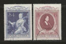 AUSTRIA, 1980, Cancelled Stamp(s), Maria Theresia  , MI Nrs 1639-1640 #4376-4149 2 Values Only - 1945-.... 2nd Republic