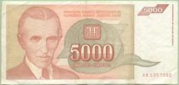 YOUGOSLAVIE 5000  Dinars 1993 - Pick 128 - Jugoslavia