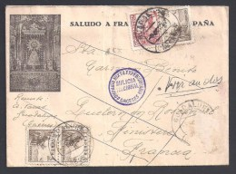 Lettre Illustée Avec Cachet Milicia National - Caceres - Compania Mixta Expedicionaria -1937 - 4 Scans - Marcas De Censura Nacional