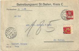 """NN Brief  """"Betreibungsamt St.Gallen""""          1923 - Lettres & Documents"""