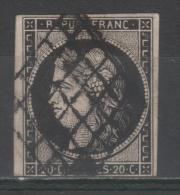 Cérès  N° 3a Avec Oblitèration Grille De 1849  TB - 1849-1850 Ceres