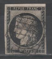 Cérès  N° 3a (Variété, Petits Points Devant La Bouche) Avec Oblitèration Grille De 1849  TTB - 1849-1850 Ceres