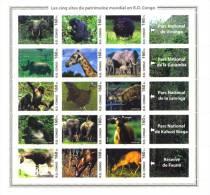 rdcF08 R.D. Congo 2005 Bird Deer Gorilla Rhinocer Elephant Monkey Giraffe s/s