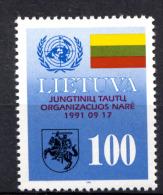 LITUANIE LIETUVA 1992, EMBLEME ONU, DRAPEAU ET ARMOIRIES, 1 Valeur, Neuf / Mint. R1905 - Lituania