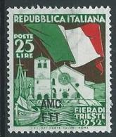 1952 TRIESTE A FIERA DI TRIESTE MH * - ED880 - Ungebraucht