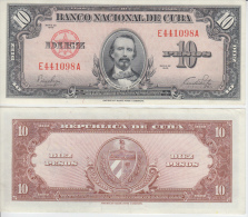AF416 CUBA UNC UNCIRCULATED PLACHA 1949 10$ CARLOS MANUEL DE CESPEDES. HIGHT VALUE. ALTO VALOR CATALOGO