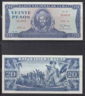 AF499 CUBA 20$ 1987 XF. CAMILO CIENFUEGOS. SOLO LEVE DOBLEZ