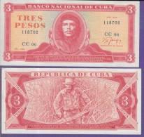 AF517 CUBA 3 UNC 1989. ERNESTO CHE GUEVARA. MODELO MEDALLON. PREFECT CONDITIONS