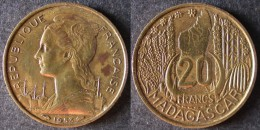 MADAGASCAR  20  Francs  1953  ENVOI GRATUIT - Colonie