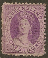 QUEENSLAND 1879 1/- No Wmk QV SG 117 U #EF47 - 1860-1909 Queensland