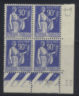 N° 368 Type Paix 90c Outremer Date 28-03-39 - Dated Corners