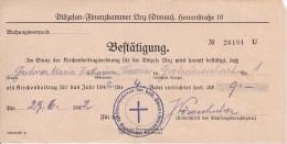 Österreich - Kirchenbeitrags-Bestätigung - Diözese Linz - 1942 (6095) - Historische Dokumente