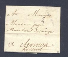 ALLIER 03 MOULINS Lenain N° 19 B DE MOULINS Du 26 Janvier 1774 B /TB Ind 17 - Postmark Collection (Covers)