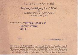 Österreich - Rundfunkamt Linz - Empfangsbestätigung - 1956 (6105) - Historische Dokumente