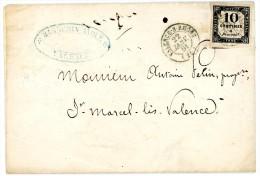 DROME LAC 1861 10C TAXE CARRE TYPE 15 VALENCE SUR RHONE  TIMBRE SUPERBE => ST MARCEL LES VALENCE - Storia Postale