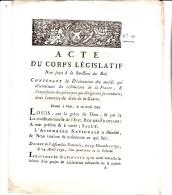 DECRET ACTE DU CORPS LEGISLATIF  1792 -CONDUITE A TENIR DANS L´EXERCICE DU DROIT DE LA GUERRE - - Décrets & Lois
