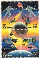 [DC0205] CARTOLINEA - MOLTO RARA - 48° CONGRESSO INTERNAZIONALE DI ASTRONAUTICA - QUARTINA FRANCOBOLLI U.S.A. - TORINO - Francobolli (rappresentazioni)
