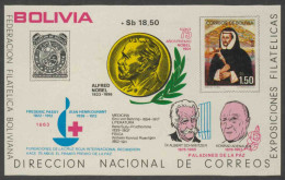 Bolivia 1976 B70 : Mi 913 ** 75th Ann. Nobel Prize Ceremony Since 1901 / 75 Jahre Nobelpreisverleihung - Bolivia