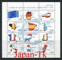 SPANIEN Mi.Nr. 3466-3477-  EUROPA -Einführung Des Euro Als Recheneinheit Im Zahlungsverkehr - Kleinbogen - MNH - Europa-CEPT