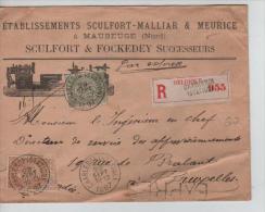 TP 59-62 S/L. Com.Recom.Exprès D'une Société Française De Maubeuge C.Charleroi(Station)en 1897 V.BXL PR1152 - 1893-1900 Thin Beard