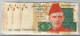 Pakistan Rs 20. Consecutive No, 8 Notes New Governor Ashraf Wathra SBP 2014 UNC - Pakistan