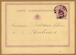 Carte Correspondance Entier Postal 1873 Bruxelles à Malines - Ganzsachen