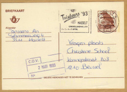 Carte Entier Postal Oiseau Buzin Hasselt X  à Brussel + Flamme - Stamped Stationery
