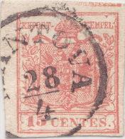 SI53D Italia Italy Antichi Stati ASI Lombardo Veneto 15 C.1850 Annullo  Di Mantova - Romagne