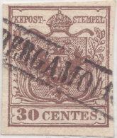 SI53D Italia Italy Antichi Stati ASI Lombardo Veneto 30 C.1850 Annullo Cartella  Di BERGAMO - Lombardo-Veneto