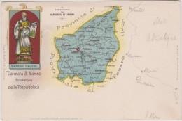 Saint  Marin :   Vue   Carte  Géographique   (  Timnbre ) - Saint-Marin