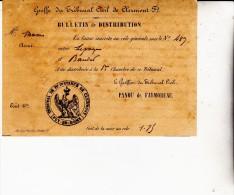 BULLETIN DE DISTRIBUTION ET D'INSCRIPTION AU ROLE GENERALE TRIBUNAL CIVIL DE CLERMONT FERRAND- - Décrets & Lois