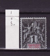 Inde Française - India - Indien  1892 Y&T N°1 - Michel N°1 * - 1c Type Sage - India (1892-1954)