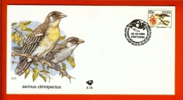 RSA, 1995, Mint First Day Cover Nr. 6-18, Serinius Citrinipectus , SACCnr(s) - FDC