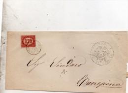 1876 LETTERA CON ANNULLO PRETURA DI SORIANO VITERBO - 1861-78 Vittorio Emanuele II