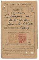 Carte D'Alimentation. Carte De Tabac. Délivrée à Joinville Le Pont. Avec Timbre Entraide Française. - Documents