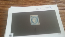 LOT 223987 TIMBRE DE FRANCE OBLITERE N�4 VALEUR 60 EUROS