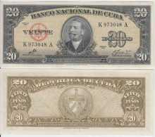 *AF420 CUBA UNC 1960 20$ SIGNED ERNESTO CHE GUEVARA. ANTONIO MACEO