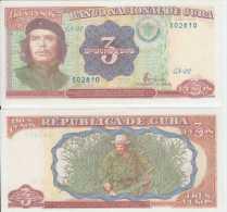 *AF427 CUBA UNC UNCIRCULATED PLACHA 1995 3$ ERNESTO CHE GUEVARA