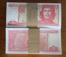 *AF448 CUBA UNC 3$ CHE GUEVARA COMPLETE 100 BUNGLE 2004. ERNESTO CHE GUEVARA