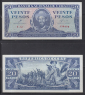 *AF497 CUBA 20$ 1961 XF. SIGNED ERNESTO CHE GUEVARA. SOLO LEVE DOBLEZ. FIRMADO POR EL CHE GUEVARA
