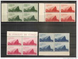 1945 San Marino Saint Marin ESPRESSO  EXPRESS 8 Serie Di 2v. (11/12, 13/14) In Quartina MNH** - Francobolli Per Espresso